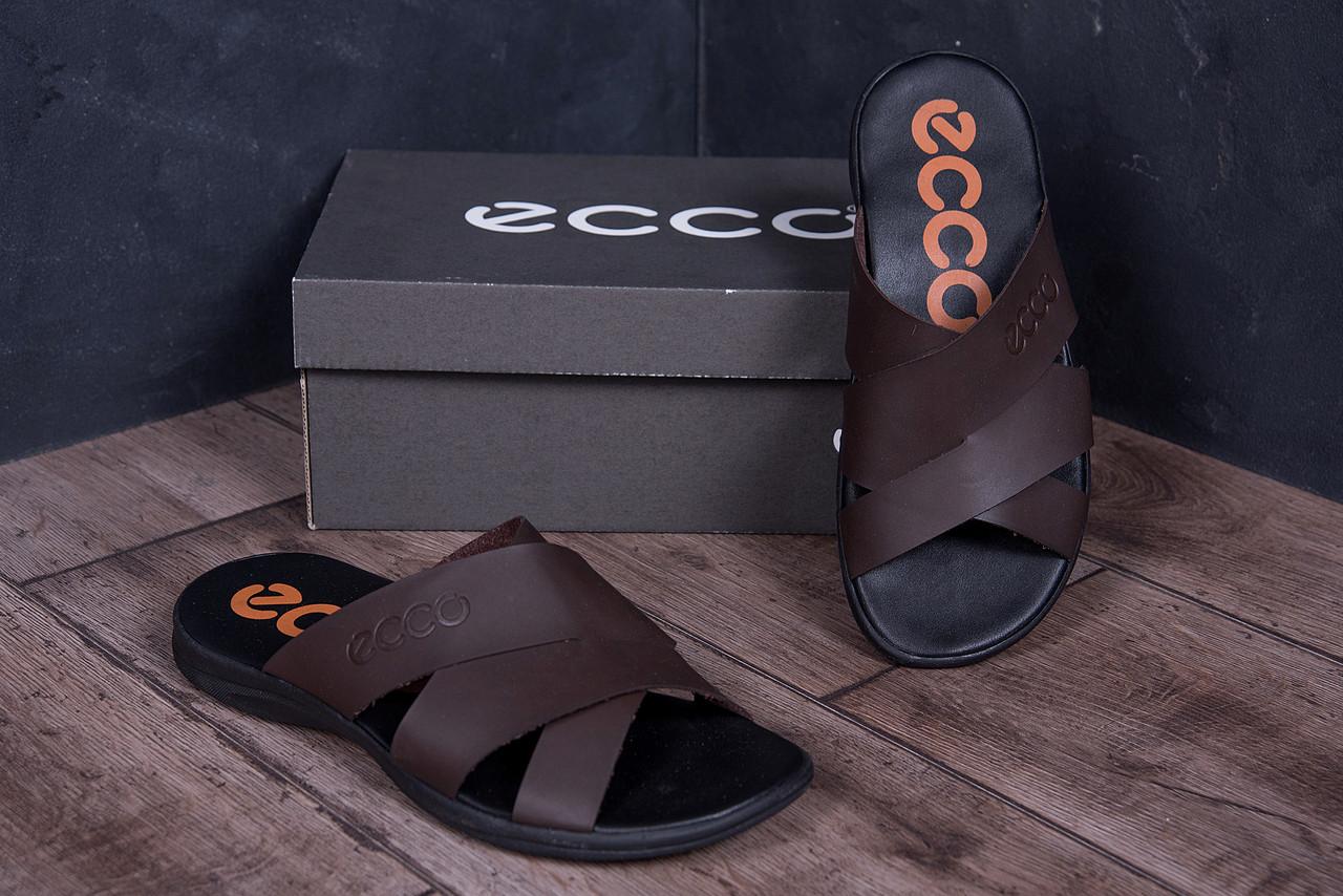 Мужские кожаные летние шлепанцы-сланцы в стиле E-seriesBiom  Brown ПК-е кор