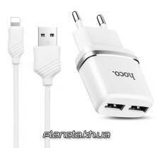 HOCO Сетевое зарядное устройство C12 2-port USB 2.4A + Cable Micro USB White, фото 2