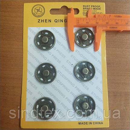 SALE Пришивные застежки-кнопки для одежды D=21мм 6шт металлические цвет антик (SALE-0733), фото 2