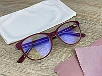Жіночі іміджеві / комп'ютерні окуляри для оптики в пластиковій темно-червоній оправі