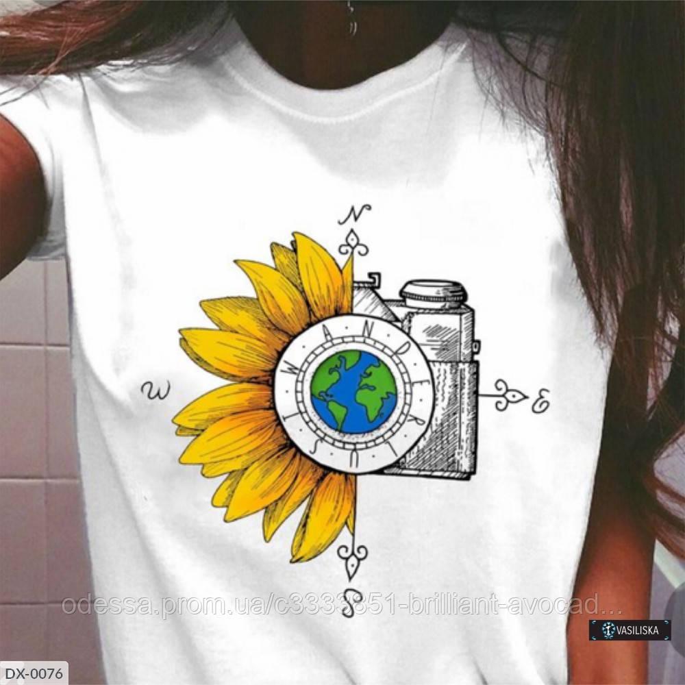 Стильная женская футболка с модным принтом  !