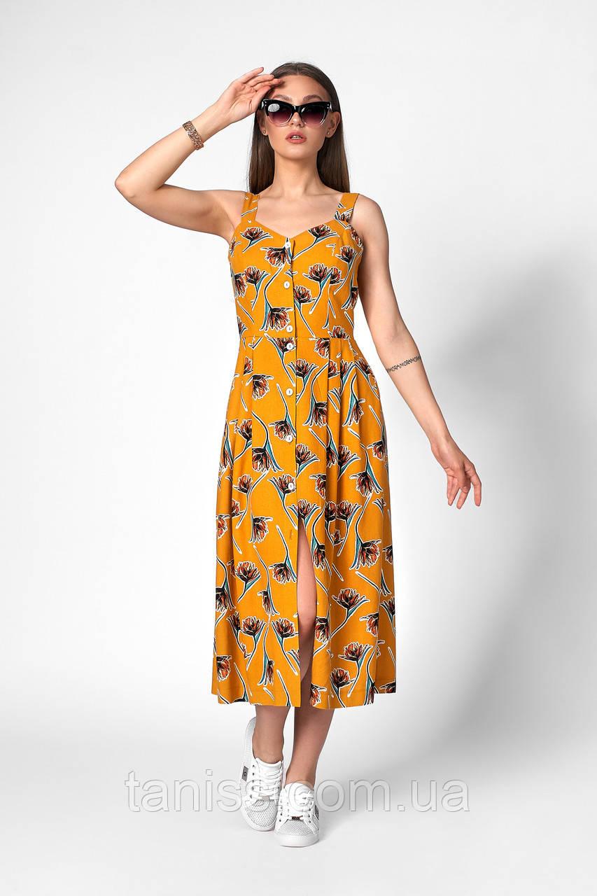 Романтичный летний сарафан, ткань лен ,размеры 42,44,46,48,50 (1258.3) горчичный, сукня