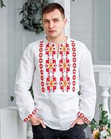 Очаровательная мужская льняная  вышиванка с длинным рукавом