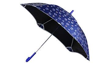 Качественный подростковый механический синий детский зонт трость блант для девочки со светоотражателями