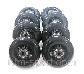 Колеса для роликовых коньков d-76 мм (8 колес с подшипниками и 16 втулок)