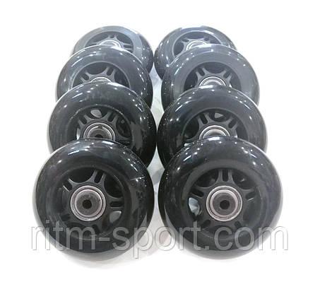 Колеса для роликовых коньков d-76 мм (8 колес с подшипниками и 16 втулок), фото 2