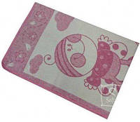 Детское хлопковое одеяло Vladi Люкс. Букашка бело-розовое-100х140-del