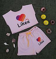 Стильный детский комплект (топ+шорты) на рост 110-146, розовый.
