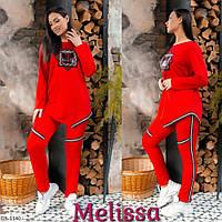 Молодежный женский тонкий спортивный костюм свитшот и штаны размеры 48-54 арт 057
