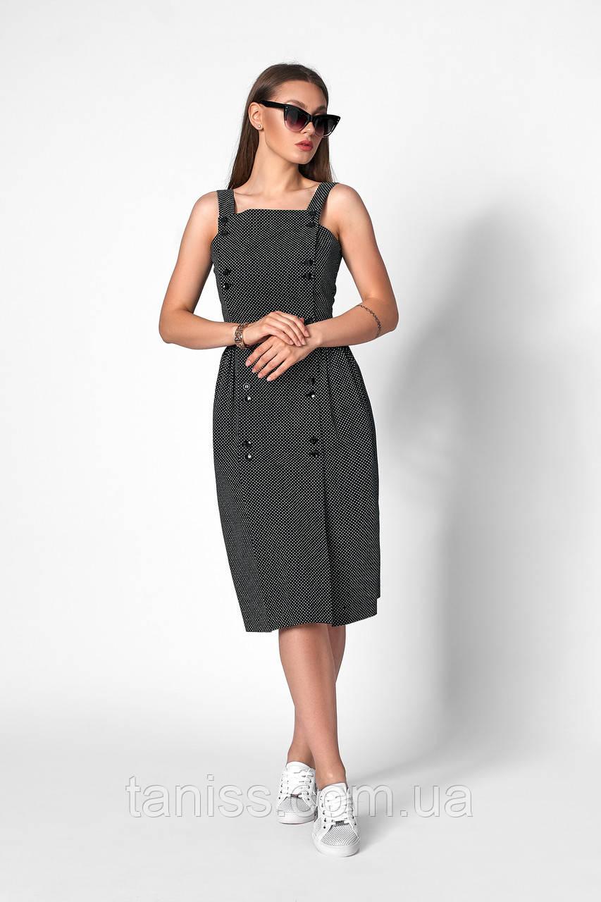 Романтичное летнее платье на бретелях, ткань коттон ,размеры 42,44,46,48 (1257.2) черный, сукня