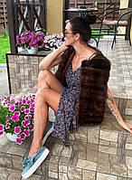 Женская норковая жилетка без воротника М размер коричневого цвета