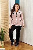 Красивый велюровый женский спортивный костюм больших размеров 50-58 арт 0229