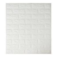Декоративная 3Д-панель стеновая белый кирпич 700x770x7мм (самоклеющаяся 3d панель для стен)