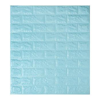 Декоративная 3Д-панель стеновая бирюзовый кирпич 700x770x7мм (самоклеющаяся 3d панель для стен)