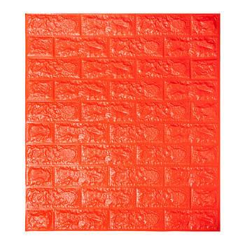 Декоративная 3Д-панель стеновая оранжевый кирпич 700x770x7мм (самоклеющаяся 3d панель для стен)