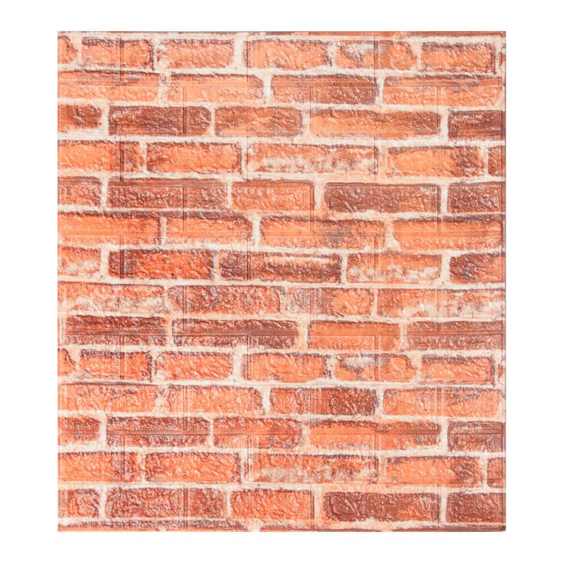 Декоративная 3Д-панель стеновая рыжий екатеринославский кирпич 700x770x5мм (самоклеющаяся 3d панель для стен)