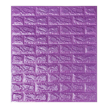 Самоклеюча декоративна 3D панель під фіолетовий цегла 700х770х7мм