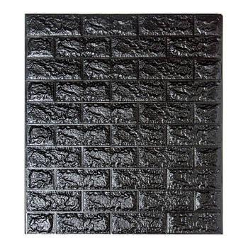 Самоклеюча декоративна 3D панель під чорний цегла 700х770х7мм