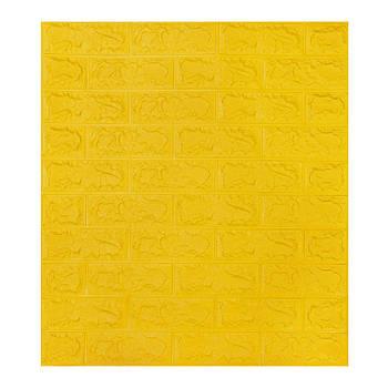 Декоративная 3Д-панель стеновая желтый кирпич 700x770x7мм (самоклеющаяся 3d панель для стен)