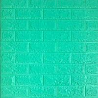 Самоклеющаяся декоративная 3D панель зеленая трава (мятный кирпич) 700x770x7мм (самоклейка, Мягкие 3D Панели)