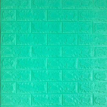 Декоративная 3Д-панель стеновая зеленая трава (мятный кирпич) 700x770x7мм (самоклеющаяся 3d панель для стен)