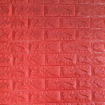 Самоклеюча декоративна 3D панель червона цегла 700х770х7мм (самоклейка, М'які 3D Панелі)
