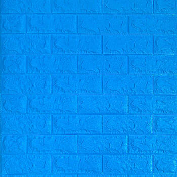 Самоклеюча декоративна 3D панель синій цегла 700х770х7мм (самоклейка, М'які 3D Панелі)