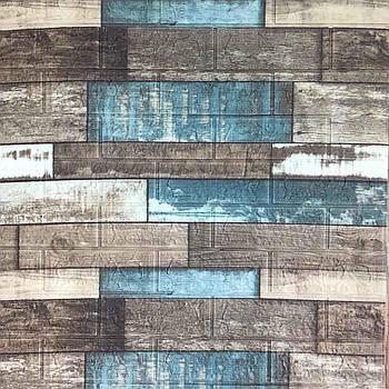 Декоративная 3Д-панель стеновая синее дерево 700x770x5мм (самоклеющаяся 3d панель для стен)