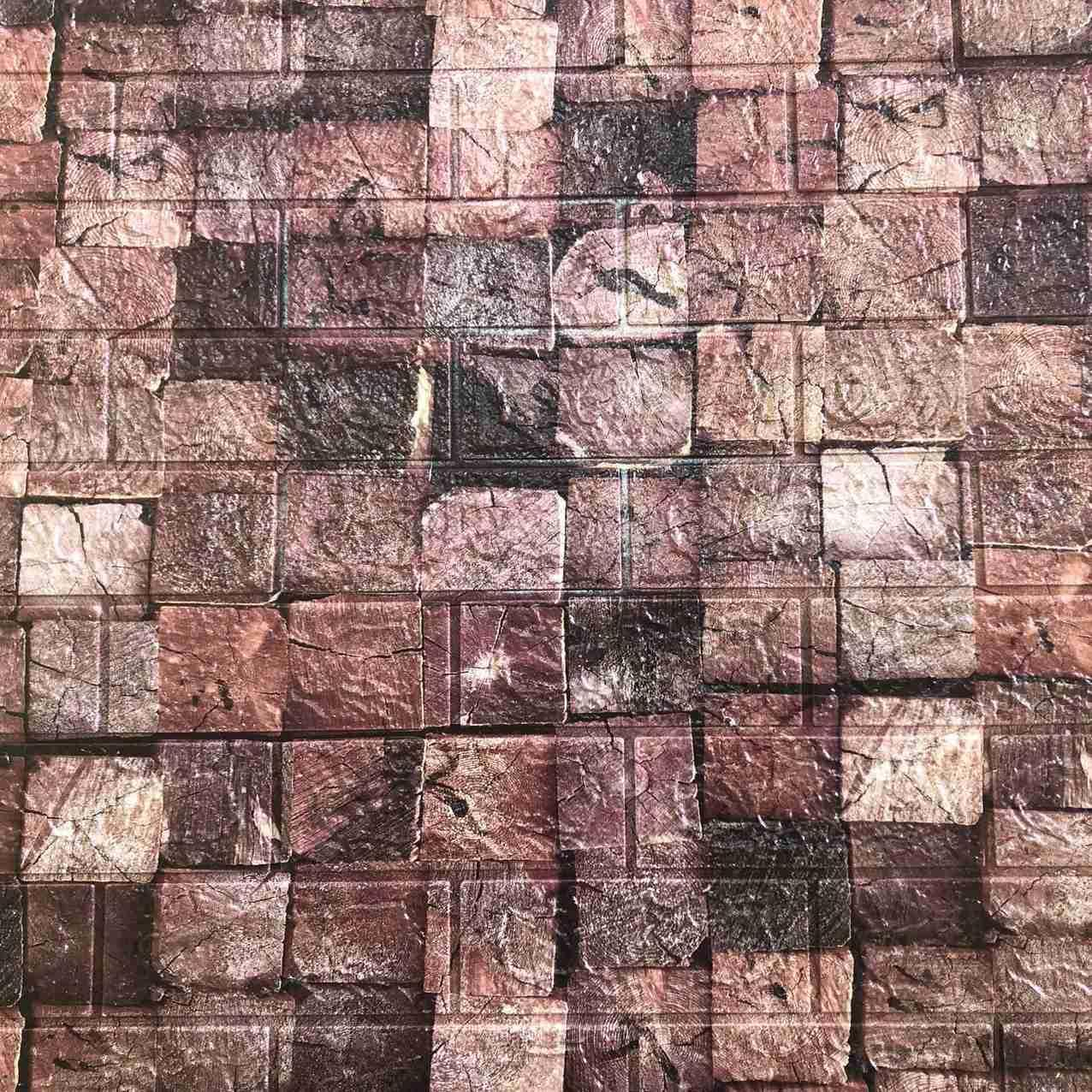 Декоративная 3Д-панель стеновая бревна на кирпиче 700x770x5мм (самоклеющаяся 3d панель для стен)