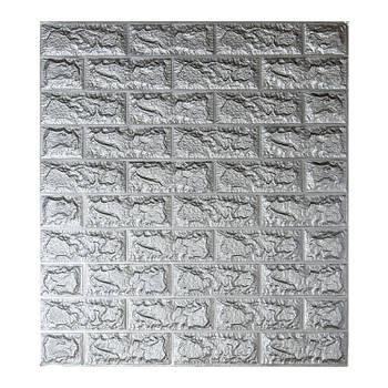 Самоклеюча декоративна 3D панель під цеглу срібло 700x770x5 мм (самоклейка, М'які 3D Панелі)
