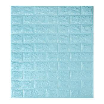 Декоративная 3Д-панель стеновая бирюзовый кирпич 700x770x5мм (самоклеющаяся 3d панель для стен)
