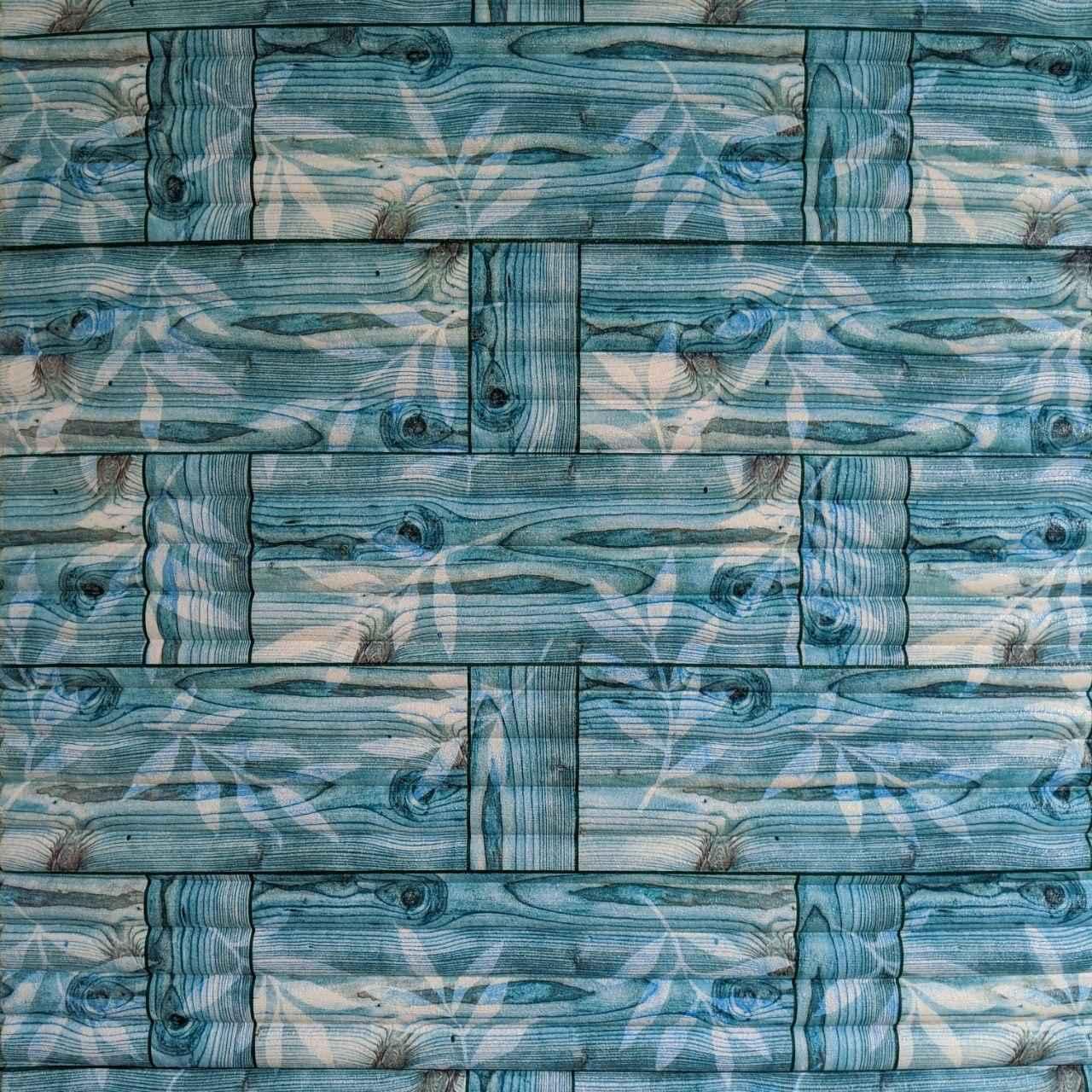 Самоклеящаяся декоративная 3D панель бамбук кладка бирюза 700x700x9 мм (самоклейка, Мягкие 3D Панели)
