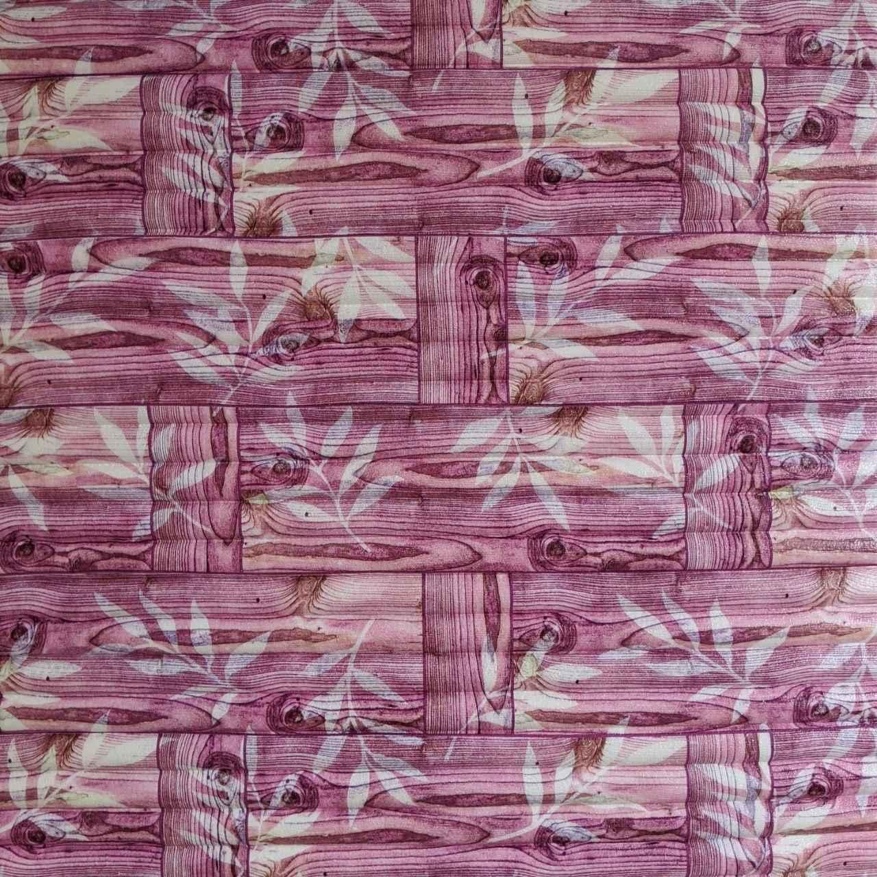 Самоклеящаяся декоративная 3D панель бамбук кладка розовая 700x700x9 мм (самоклейка, Мягкие 3D Панели)