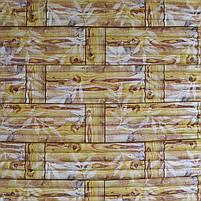 Самоклеящаяся декоративная 3D панель бамбук кладка желтый 700x700x9 мм (самоклейка, Мягкие 3D Панели), фото 2