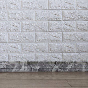 Самоклеящийся гибкий плинтус серый мрамор 240x8 см (толщина 7мм, плинтус самоклейка)
