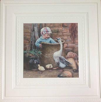 Самоклеящаяся картина мальчик ребенок и гусь 700x700x7 мм (самоклеящийся рисунок)