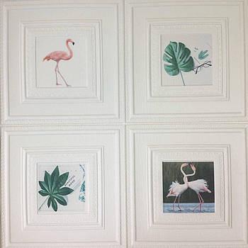 Самоклеящаяся картина фламинго 700x700x7 мм (самоклеящийся рисунок)
