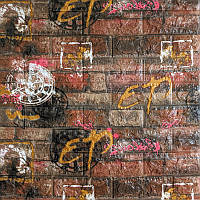Самоклеящаяся 3D панель под оранжевый кирпич граффити 700x700x5 мм (самоклейка, Мягкие 3D Панели)