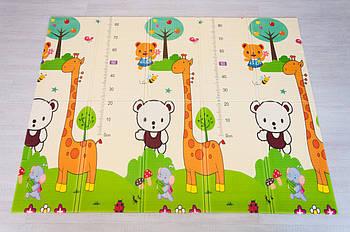 """Дитячий килимок """"Зоопарк - Ростомір"""" (складаний розвиваючий килимок на підлогу) 2*1,5 м (товщина 10 мм)"""