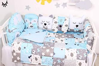 Комплект в кроватку с зверюшками в голубых тонах САТИН