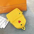 Рюкзак набор для девочки 2 предмета (пенал)с сердечком желтый., фото 7