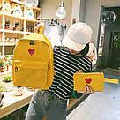 Рюкзак набор для девочки 2 предмета (пенал)с сердечком желтый., фото 4