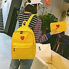 Рюкзак набор для девочки 2 предмета (пенал)с сердечком желтый., фото 5