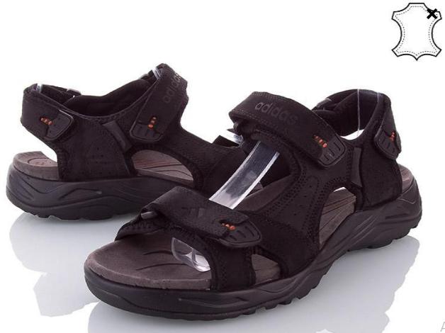 Сандалии мужские кожаные р.40 чёрные Adidas