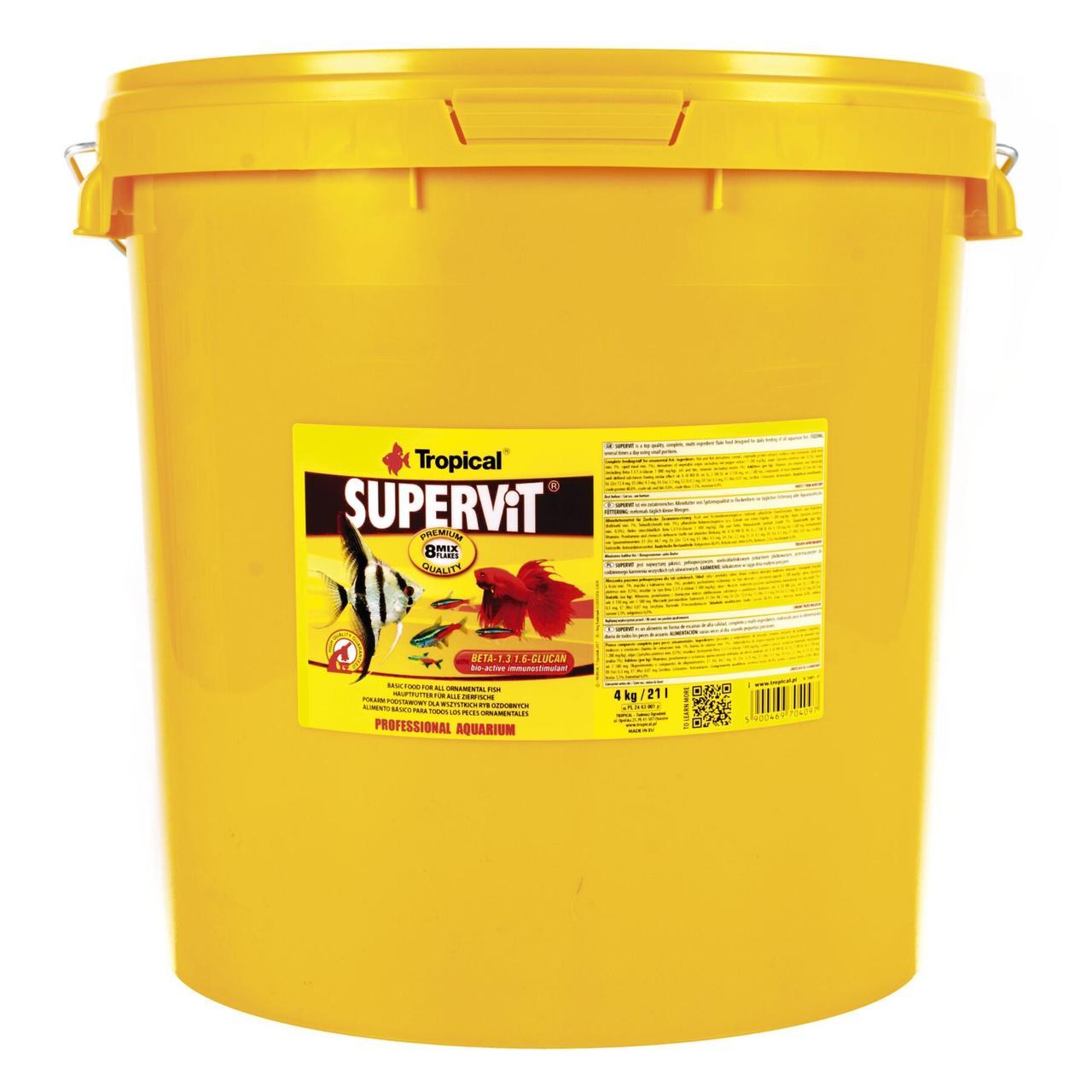 Сухой корм для аквариумных рыб Tropical в хлопьях Supervit 21 л