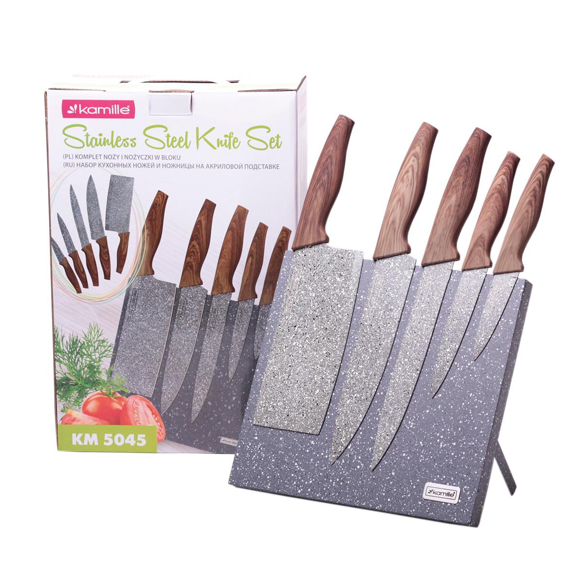 Набор ножей Kamille 6 предметов из нержавеющей стали на подставке с мраморным покрытием (5 ножей+подставка) KM-5045
