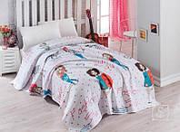 Детское постельное белье с вафельным покрывалом Eponj Home. FashionGirl Pembe-1,5-спальный подростковый