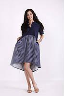 Синее комбинированное платье летнее молодежное для полных женщин 01532-1