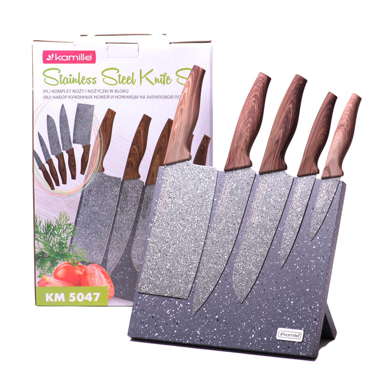 Набор ножей Kamille 6 предметов из нержавеющей стали на подставке с мраморным покрытием KM-5047