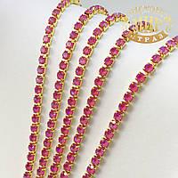Стразовая цепочка ss6 (2mm), цвет металла Золото, стразы Dark Rose Delite, 10 см
